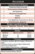 Коэлан таблица