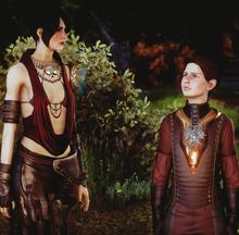 Morrigan y Kieran en Feudo Celestial