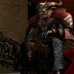 Der Arishok auf seinem Thron im Arsenal der Qunari in Kirkwall
