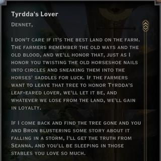 The Tyrdda's Lover landmark letter