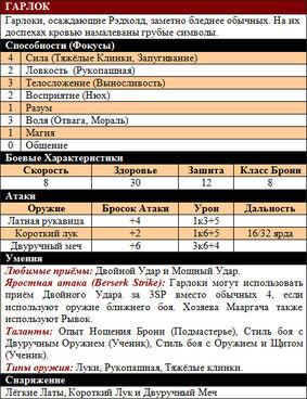 Гарлок (WEL) таблица