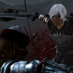 Fenris cutting down a raider.