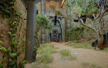 De Eingang in die stillen Ruinen