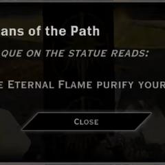 Guardians of the Path Eternal Flame Landmark Text