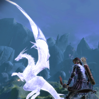 High dragon frozen in flight