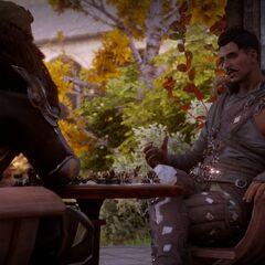 Cullen und Dorian bei einer Runde Schach im Garten der Himmelsfeste