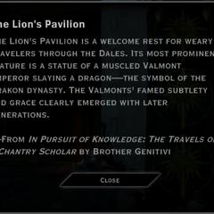 The Lion's Pavilion Landmark Text