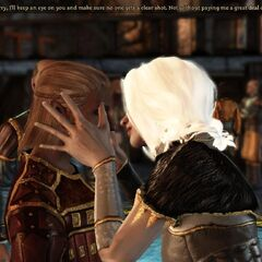Alys and Zevran about to enjoy a well-earned kiss