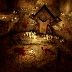 An altar with blood sacrifices
