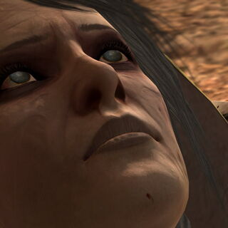 Close-up of Leandra dying in Hawke's arms