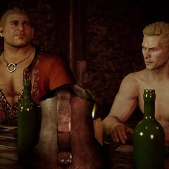 Varric und Cullen beim Glücksspiel