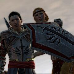Aveline beschützt Wesley auf der Flucht aus Lothering