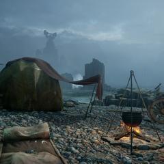 Ein Lager an der Sturmküste