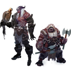 Concept art of male qunari and dwarven Inquisitors