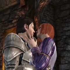 Aedan and Leliana kiss