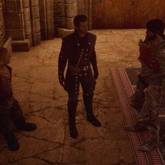Maxwell <i>(center)</i>, Varric <i>(left)</i> and Hawke <i>(right)</i>