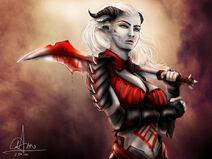 Dragon age qunari woman by sasorizanoko-d60vcld