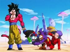 Super Saiyan 4 Gokou and the Pilaf Gang