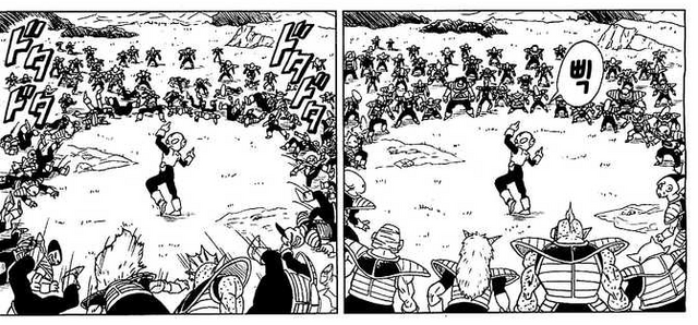 File:DXRD Caption of Jaco takes down PTO soldiers with his gun (Abo's race esque, Iru's race & King Cold's men esques), Fukkatsu No F 3rd manga chapter.png