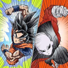 Jiren combatte Goku nel manga.