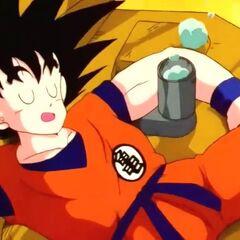 Son Goku che dorme sul camion della nettezza dell'Aldilà.
