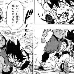Son Goku crolla esanime.