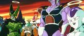 Cell,A-20,Racoom,Jeice,King Cold y Freezer viendo la pelea de Gokuvs Boo en el infierno