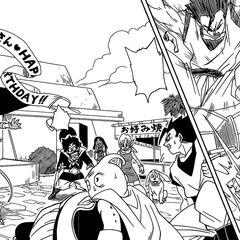 Beerus sconfigge facilmente Gohan e Majin Bu.