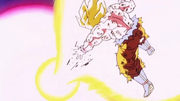 Goku ssj haciendo el Kamehame ha Furioso