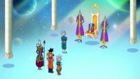 Goku and friends in zeno palace