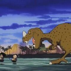 Un dinosauro insegue Goku e Crilin durante l'allenamento.