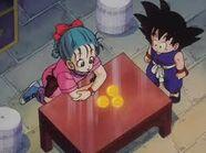 Bulma explaining with Goku Dragon Balls