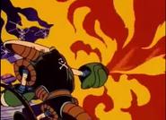 El robot quemando la habitación