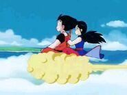 Goku y Chi-Chi volando