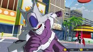 SDBH World Mission Ch1, Sub Ch1 - My Thrilling First Battle Final Form Cooler charging towards Beat as Great Saiyaman 3 uses Rapid Movement (Final Form Cooler VS Base Beat & Great Saiyaman 3) (1)