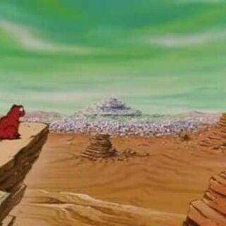 Veduta del pianeta Imegga con una città all'orizzonte.