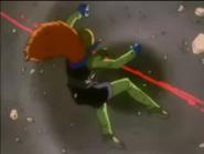 Bola Infernal de Super 17 matando al Dr. Myu