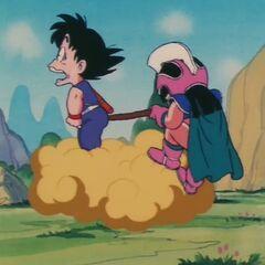 La coda di Son Goku tirata da Chichi.