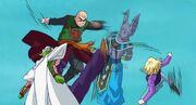 Piccolo, Androide 18 e Tenshinhan vs Beerus