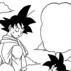 Mister Satan e Goten cercano di convincere Goku a prendere i soldi.