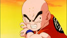 Krillin charges a Kamehameha