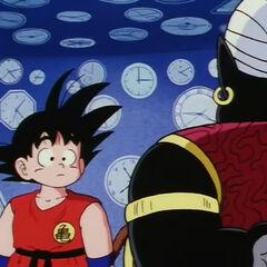 Son Goku e Mr. Popo nella Camera del Tempo in Dragon Ball.