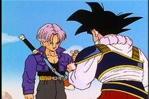 Trunks le da el medicamento a Goku