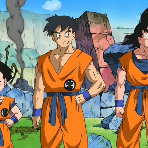 Yamcha, Crilin e Goku con l'uniforme Scuola della Tartaruga.