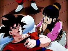 Goku sufriendo por el virus
