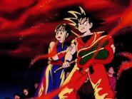 EP151DB Princesa Chi-Chi y Son Goku viendo las llamas del castillo