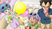Bulma, vegeta e trunks mangiano gelato