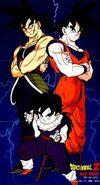Bardock , Goku y Gohan.