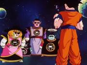 Goku e i Re Kaioh nello spazio infinito dell'Aldilà