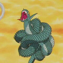 La Principessa nella sua forma di serpente che rimane attorcigliata.